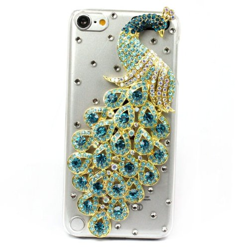 Blue Bling Rhinestone Crystal Clear Peacock Hard Case Cover for ipod Touch 5 5th(China (Mainland))