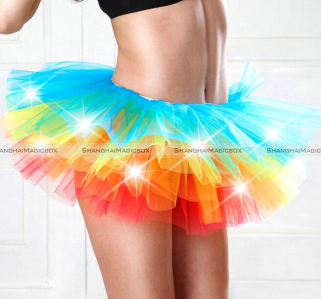 Hot Sexy Women LED Light Up Neon Rainbow Tutu Fancy Halloween Costume Adult Skirt TFS 11015308(China (Mainland))