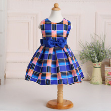 Children Summer Dress New Vogue Vestido meninas Party Costume Sleeveless Bowknot Tartan Kids Girls Plaid Dresses