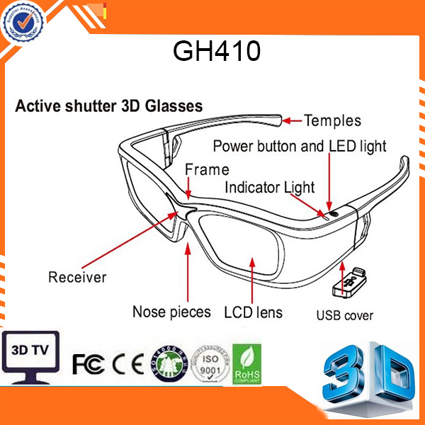 2014 New Bluetooth 3D Shutter Active Glasses for 3D for Samsung for LG TV HDTV Blue-ray Player Newest free gift(China (Mainland))