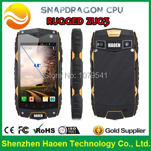 Ultimate rugged ZUG3 under water use phone 4.0'' inch Android smartphone Qualcomm Snapdragon processor Water resistant phone(China (Mainland))