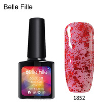 Belle Fille UV LED Curing Gel Colorful Nail Polish Bling Shining Soak Varnishes - Aquichante Daiqte Store store