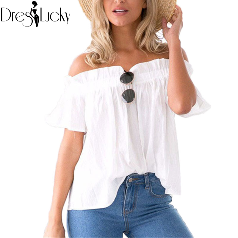 Fashion sexy white women tops slash neck ruffles blouses 2016 summer casual off shoulder top female shirt short sleeve clothing(China (Mainland))