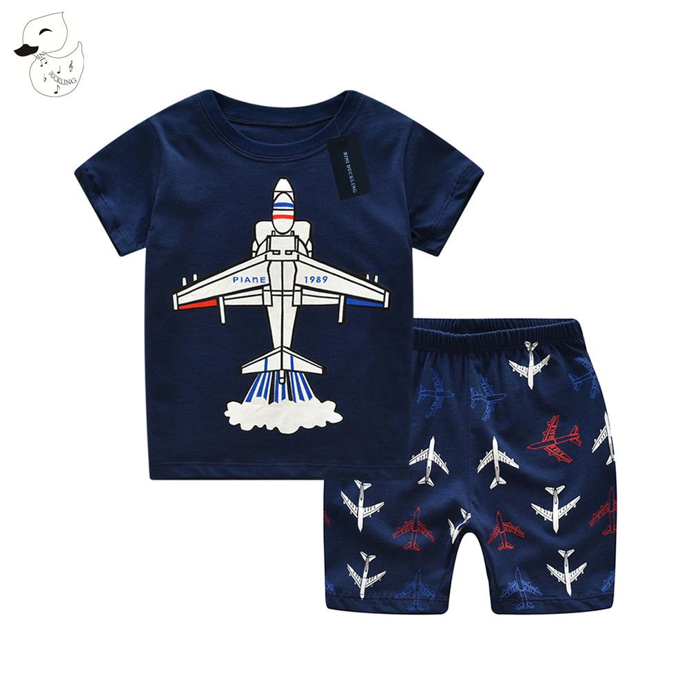 BINIDUCKLING Summer Baby Boys Sleepwear Pajama Sets 100 % Cotton aircraft Printed t-shirt+pants 2pcs Bebes Children's Clothing(China (Mainland))
