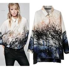 Autumn Summer Chiffon Blouse Women Three Quarters Sleeve Turn Down Collar Shirts Blouse Printed Shirt Tops S M L B21 (China (Mainland))