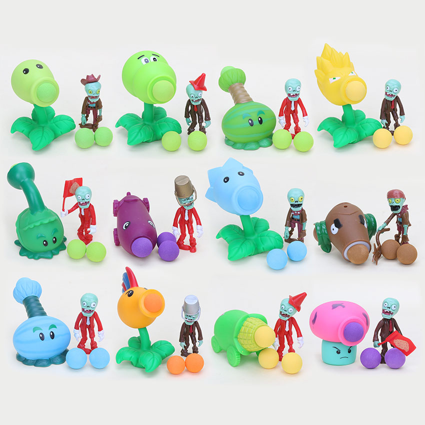 12pcs/lot PVZ Plants vs Zombies Peashooter PVC Action Figure Model Toy Gifts Toys Children opp bag