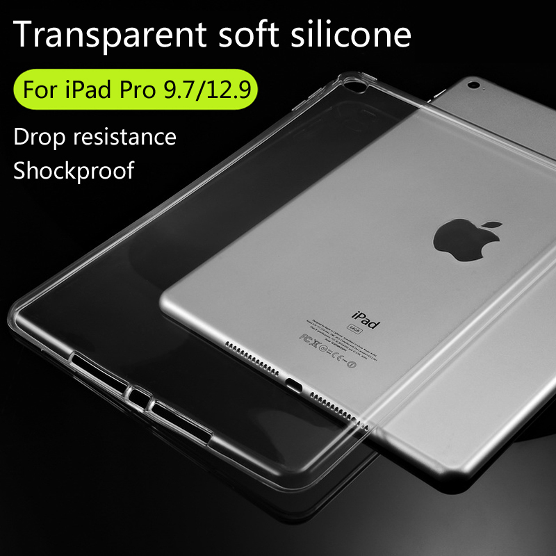 For Apple iPad Pro 9.7/iPad Pro 12.9 TPU Soft Case Cover Crystal Clear Transparent Ultra Thin Shell Tablet accessories(China (Mainland))