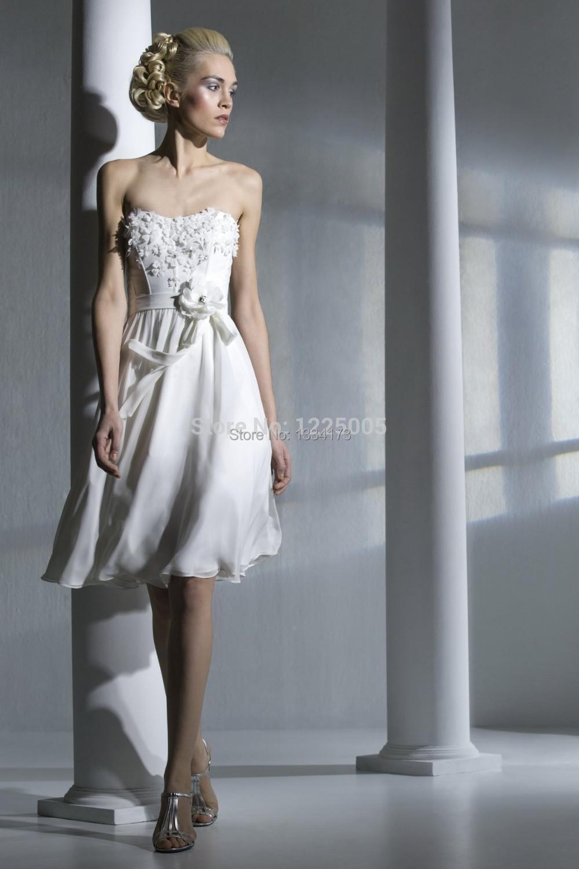 New 2015 summer white red chiffon beach short bridesmaid for Knee length beach wedding dresses