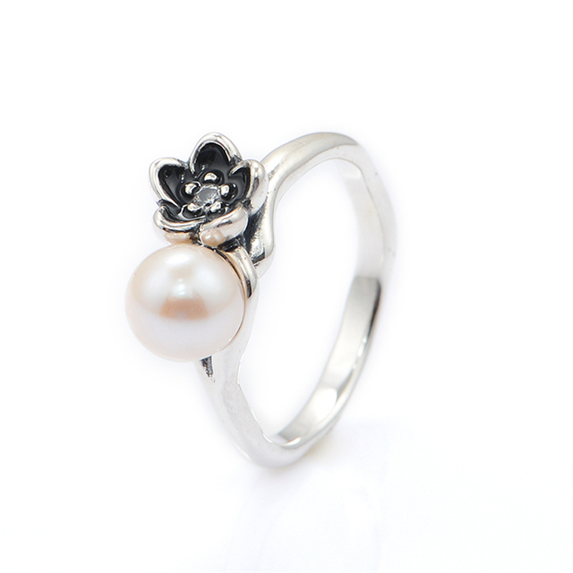 925-Sterling-Silver белый жемчуг кольцо мода женщин RIing рождественский подарок DIY мода аксессуары и украшения 925 кольцо