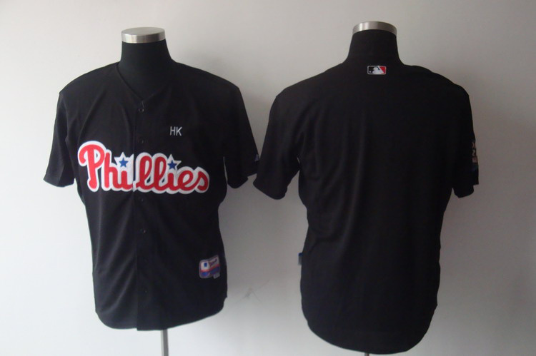 High Quality Mens Philadelphia Phillies Jersey Blank Black Baseball Jersey,embroidered Logo,accept retail mixed order
