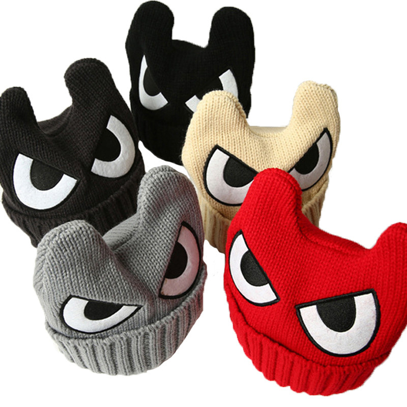 Solid Cartoon Skullies Big Eyes Caps Children OX Horn Winter Hats Boys Warm Knitted Caps Girls Kids Beanies Hip Hop hats 082(China (Mainland))