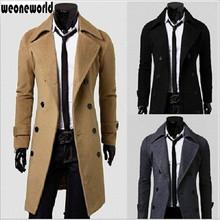WEONEWORLD 2016 Men's Thicken Trench Coat Winter Warm Long Trench Coat Men Fashion Outerwear Trench Coat Jacket Free Shipping(China (Mainland))