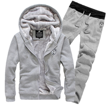 1 set new arrival  man fashion casual autumn winter thicking hoody fur lining fleece hoodies pant men sports clothing(China (Mainland))