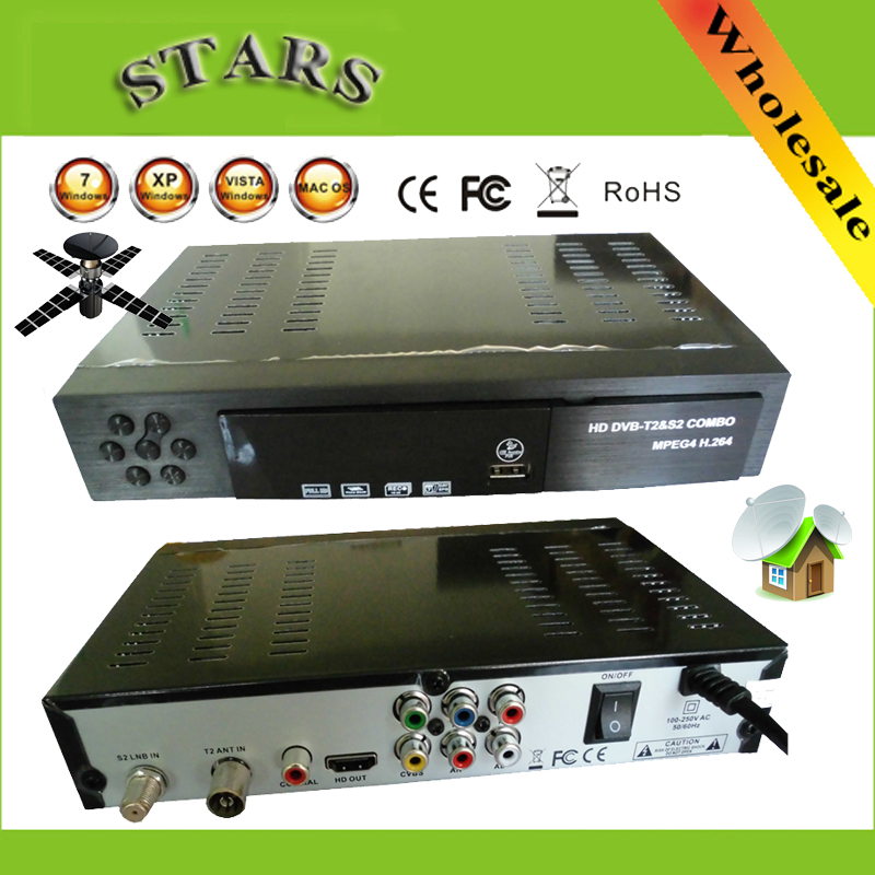 Digital Terrestrial Satellite TV Receiver Combo dvb t2 + S2 HD 1080P dvb-t2 dvb-s2 tv Box H.264 / MPEG-2/4 for Russia Europe(China (Mainland))