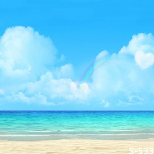 8x8FT Blue Sky Rainbow Sea Sand Beach Summer Custom Photography Backgrounds Studio Backdrops Vinyl 10x10 8x12(China (Mainland))
