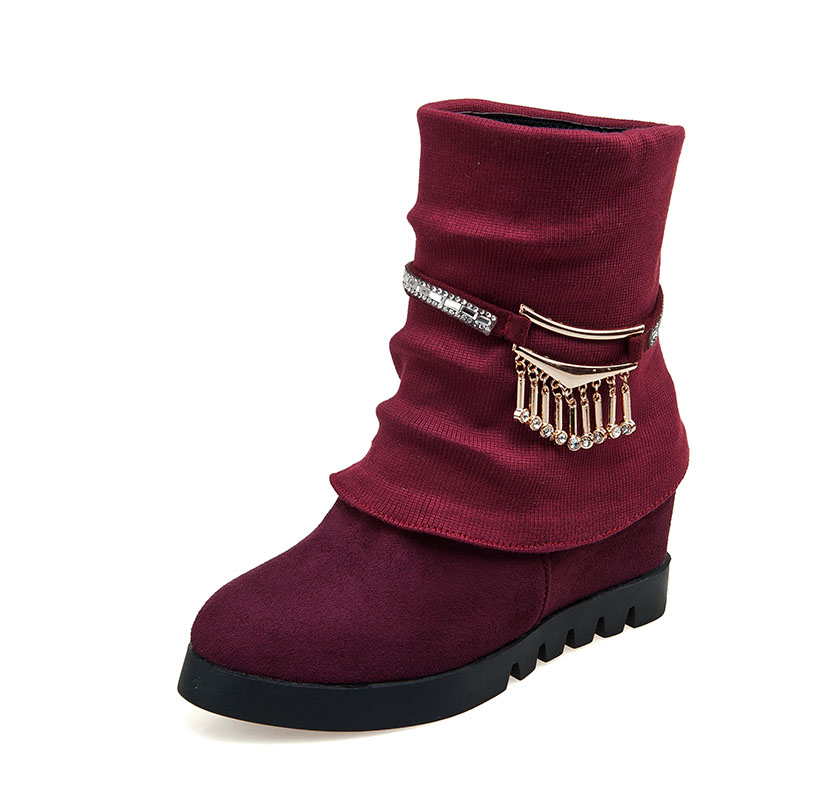 2015 size 12 13 fashion med wedges heel mid calf boots with