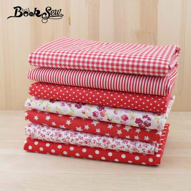 50cmx50cm 7pcs Red 100% Cotton Patchwork Fabric for DIY Sewing Tilda Doll Cloth Quilting Tissue textiles cheap fabrics tecido(China (Mainland))