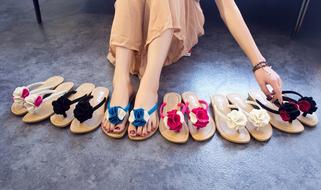 2014 spring and summer sweet flat flower platform sandals daily casual home female sandals slippers(China (Mainland))