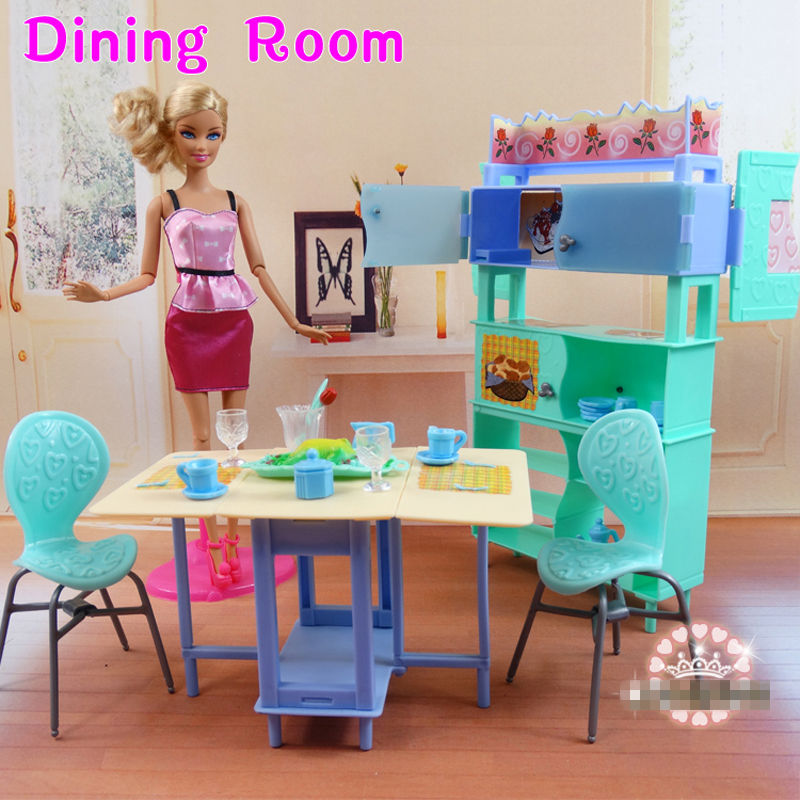 DIY Kids Toys Christmas Gift, 1:6 Play Doll House Dollhouse Kitchen Dinning Room Furniture Set for Barbies Kurhn Doll(China (Mainland))
