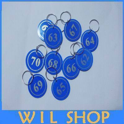 Cheap wholesale (100pcs/lot) Key ID Labels number Tag Cards key chain with Digital tag key ring One to one hundred(China (Mainland))