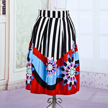 Hot New Shining Style Floral Printed Striped Fashion Skirt Women's High Waist Elastic Stretched A-Line Swing Midi Fashion Skirt