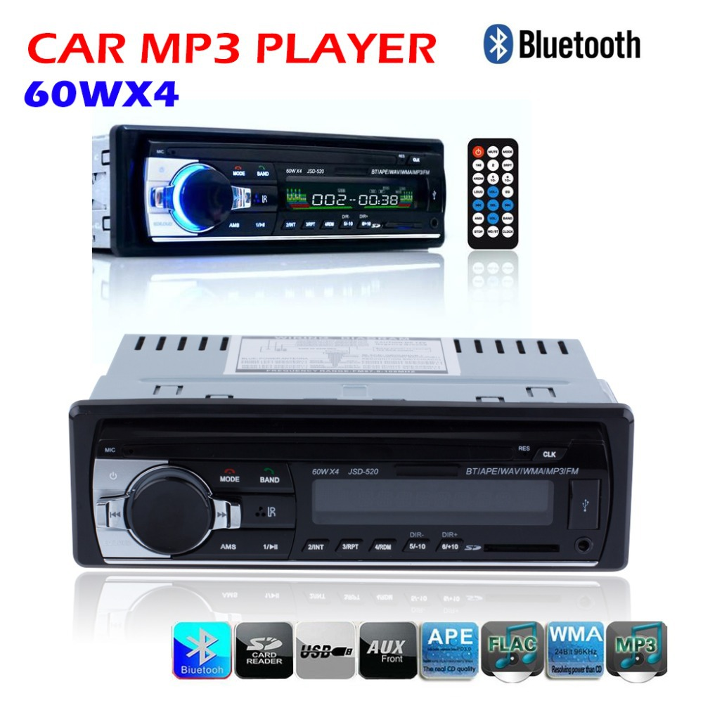 12V Bluetooth Car Stereo FM Radio MP3 Audio Player 5V Charger USB/SD/AUX/APE/FLAC Car Electronics Subwoofer In-Dash 1 DIN(China (Mainland))