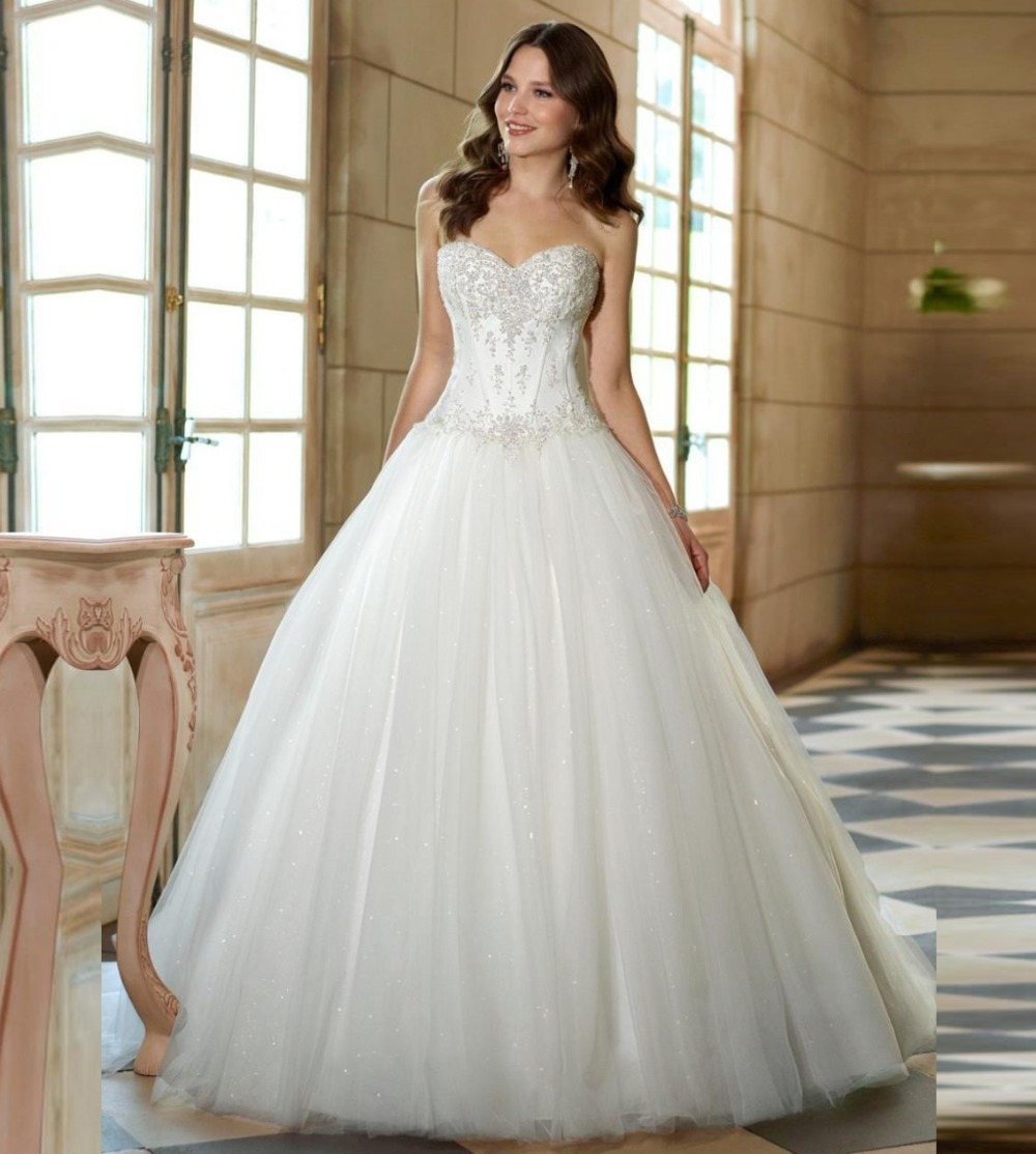 New Fashion Ivory Backless Beaded Sweetheart Ball Gown Wedding Dresses Tulle Bride Dresses 2015