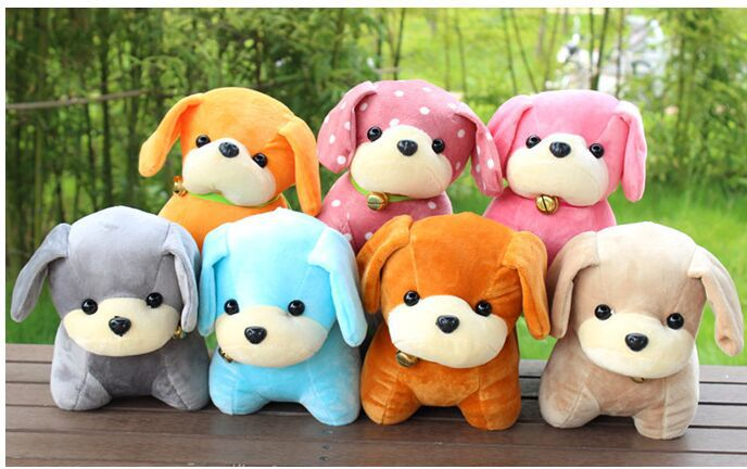 10 pieces cute small dog toys plush multi-colour dog dolls with bell about 25cm<br><br>Aliexpress