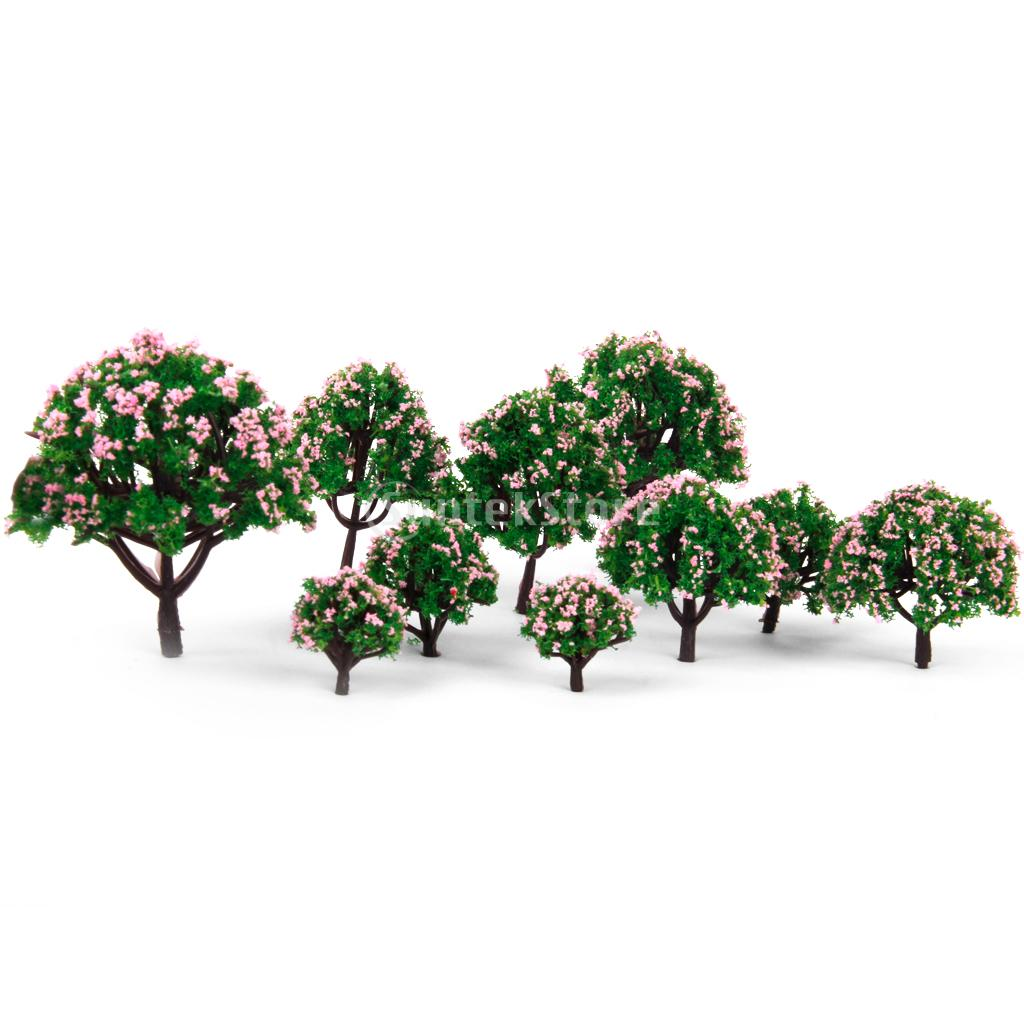 New Arrivals 2015 HO Scale Model Trees 5 Sizes 10pcs Model Tree with Pink Flower for Railroad Scenery/dioramax Free Shipping(China (Mainland))