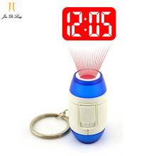 2017 Mini LED Projector Clock Luminous Watches & Clocks Plastic Flashlight Clock Electronic Movement Projection Clock Keychain(China (Mainland))