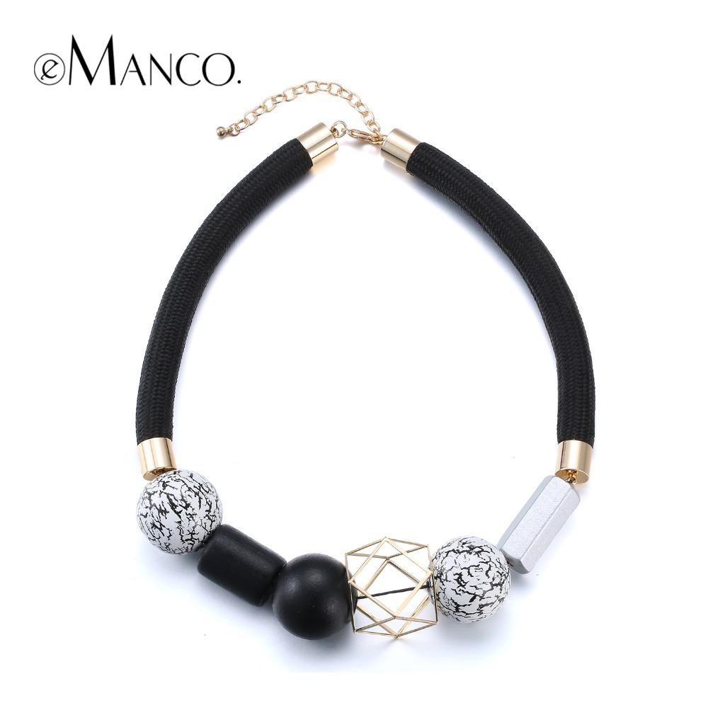 //Black rope choker necklace wooden jewelry// geometric wooden beads short necklace fashion jewelry minimalistic 2016 eManco(China (Mainland))