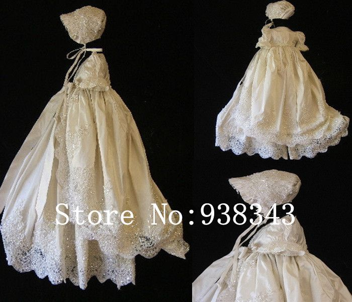 2015 Infant baby formal dress Silk Lace Baptism Christening Dress Baby Girls Christening Gowns wedding Party Princess Dresses(China (Mainland))
