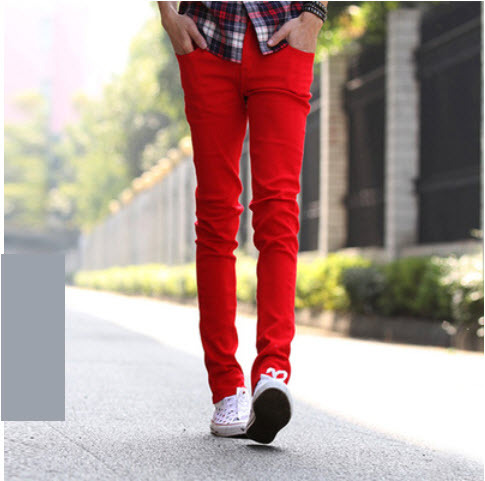 mens red skinny jeans - Jean Yu Beauty