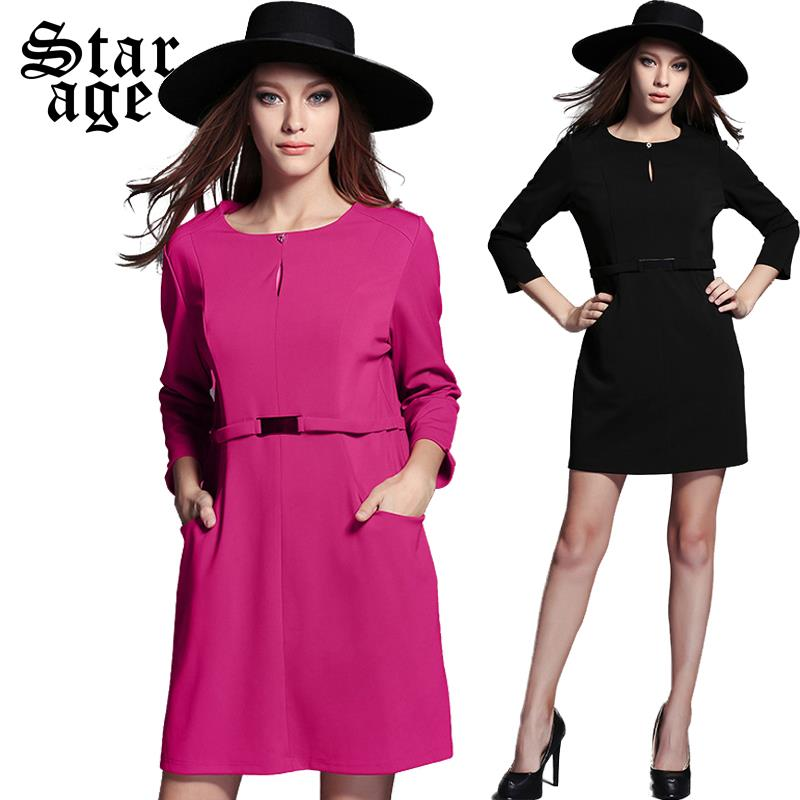 XL-5XL Women Solid Color Dress 2015 Fall Fashion Clothing Office Ladies Work Wear Plus Size 3/4 Sleeve Knee Length Dresses 2005(China (Mainland))