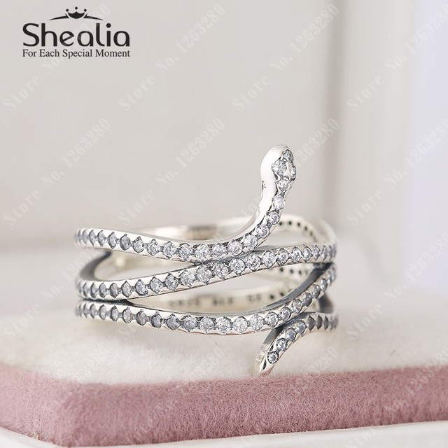 2015 новый закрученного змея кольца с ясно CZ вымостите животные кольцо 925 серебряная свадьба резинками изысканные Shealia ювелирных изделий