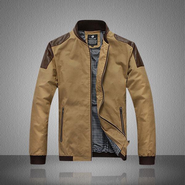 HOT Autumn & Spring Jacket Cotton PU Leather Spring Jacket Men Stand Collar Men Spring Jacket Slim fit Jacket Plus Size M to 4XL(China (Mainland))