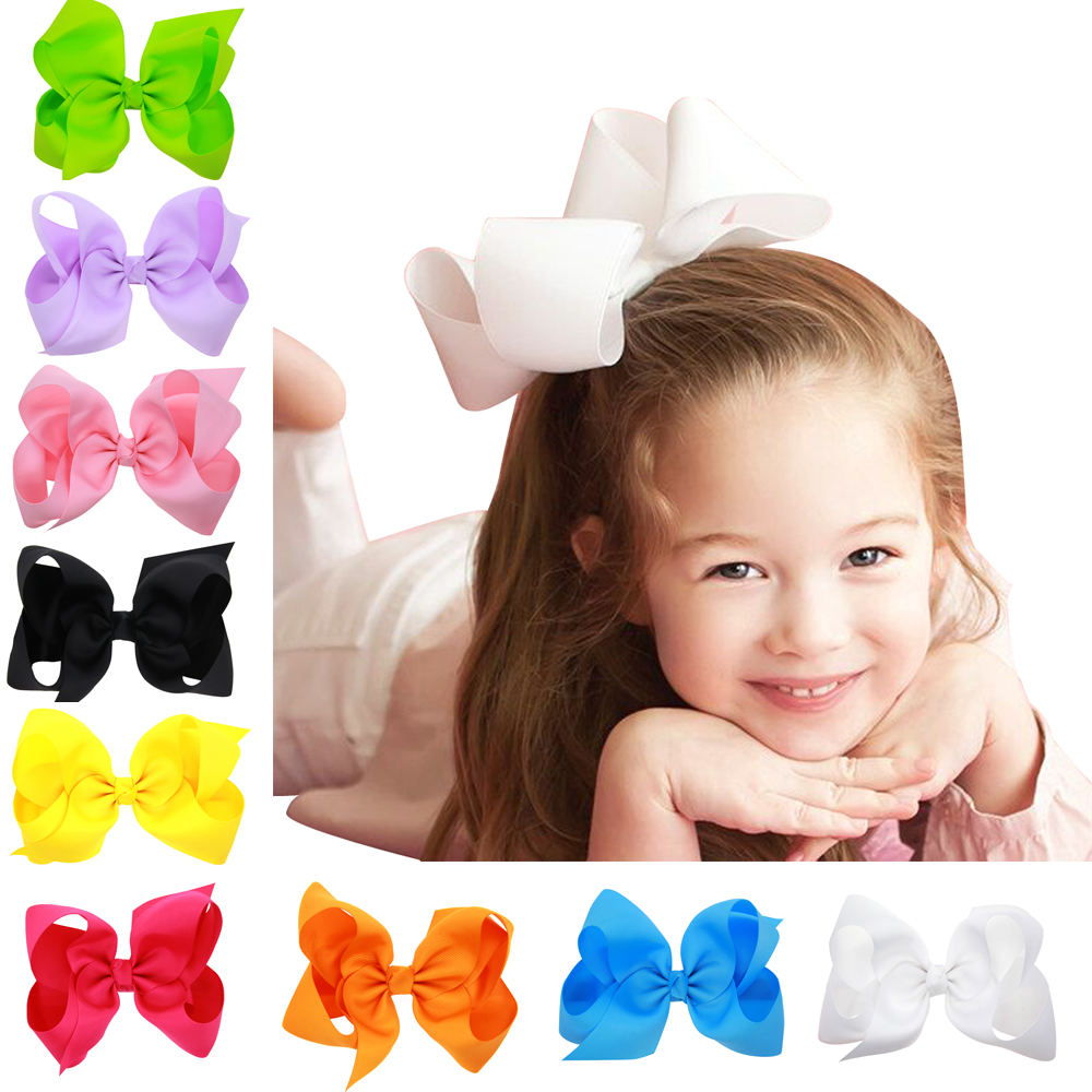 2016 6 Inch Big Hair Bow Girls clip Solid Ribbon Hair Bows With flower HairClip Hairpin Baby Hair Accessories(China (Mainland))