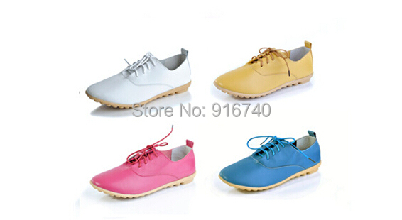 2015 New Style Women Genunie Leather Sneakers Pointed Toe Nurse Driving Flats Mother Shoes High Quaitly - ABC KIDS store