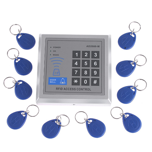 RFID Reader Controller Proximity Door Entry Access Control System Card Reader + 10 Key Fobs(China (Mainland))