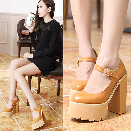 British Style Women High Heel Platform Pumps Womens Shoes Leather Belt Buckle Female Shoes sy-1784<br><br>Aliexpress