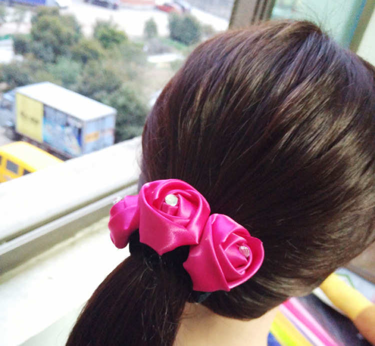 Free Shipping Women's Disk hair with Flower girl's chiffon rose hairstyle hairpins girl's lovely hair Accessories(China (Mainland))