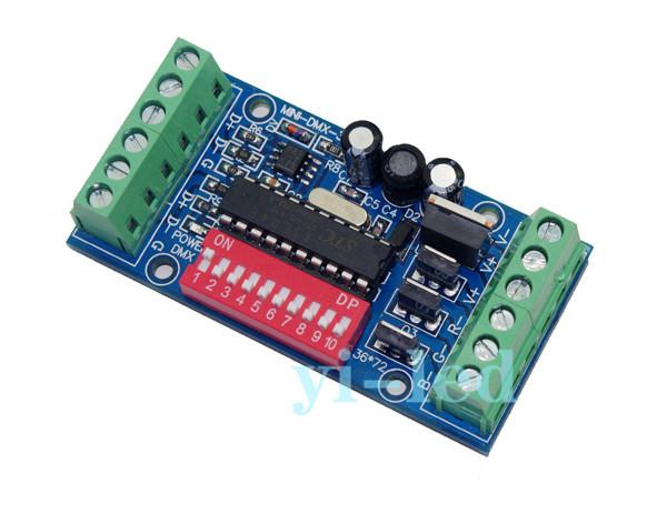 Free Shipping Mini 3CH dmx Controller,subminiature controller,RGB LED dmx512 decoder,DC5V-24V,for LED strip light,LED module(China (Mainland))