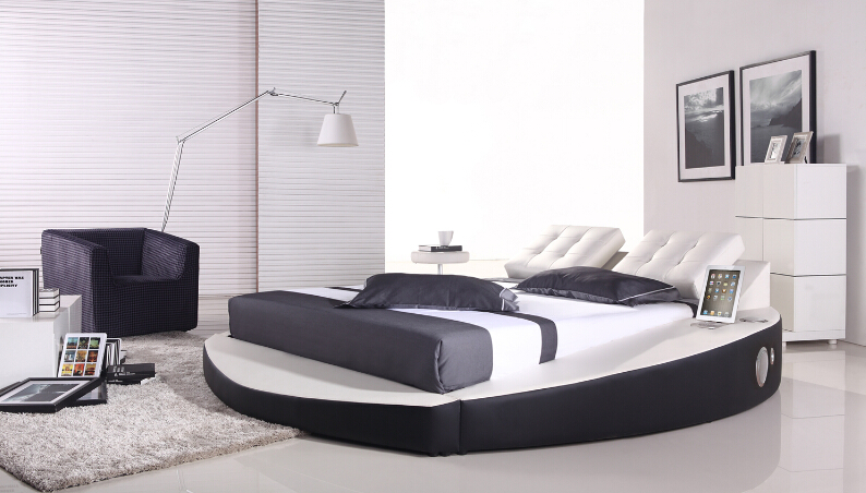 Modern bedroom furniture Genuine leather round bedroom furniture with Music player(China (Mainland))