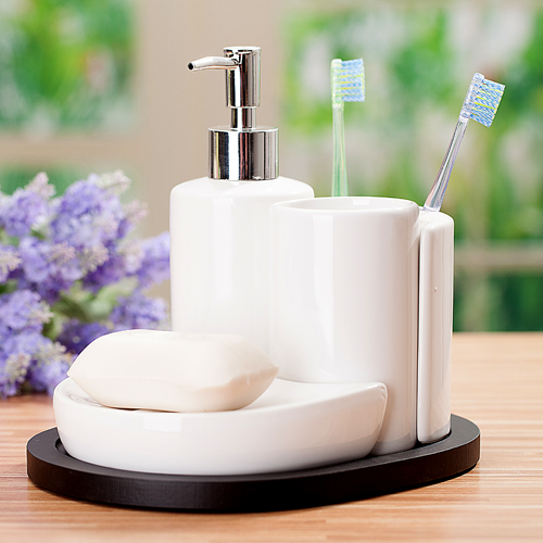 4pcs bathroom set ceramic bathroom supplies kit soap dish for Ceramic bathroom accessories sets