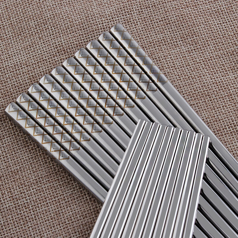 1 Pair 304 Stainless Steel Chinese Chopsticks Stripe Pattern Square Reusable Silver Chop Stick Weight Size(China (Mainland))
