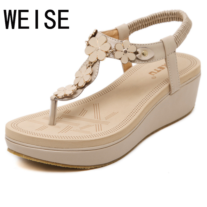 Free Shipping 2016 new Korean elastic belt buckle slope with sandals shoes thong sandals women shoes<br><br>Aliexpress