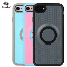 Original Benks Brand Built-in Metal Plate Phone Case for iPhone 7 PC+TPU Ring Holder Case Cover for iPhone 7 Plus(China (Mainland))