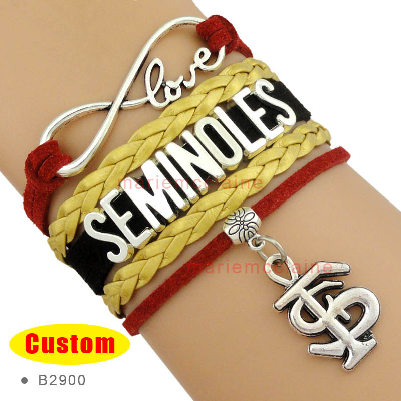 (10 Pieces/Lot) Infinity Love NCAA Florida State Seminoles Wrap Bracelet Garnet Gold White Custom Any Bracelets - Drop Shipping(China (Mainland))