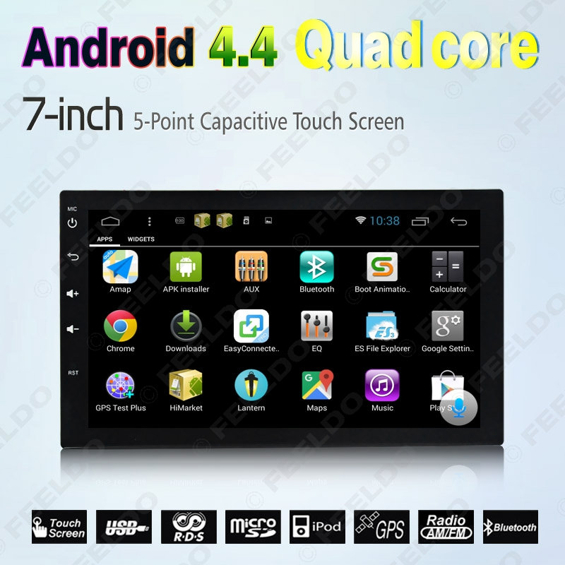 7inch 1024*600 HD Android 4.4 Quad Core GPS Radio For Universal ISO 2DIN Car (NO-DVD) #3900(China (Mainland))