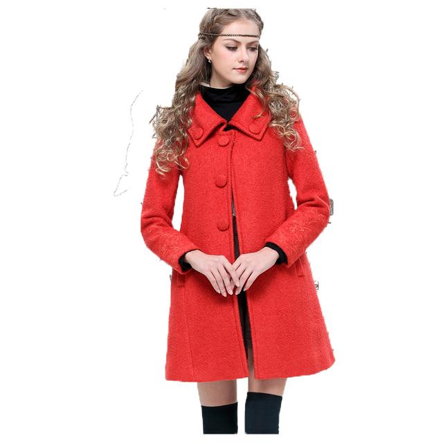 Yuzi 2015 новый урожай теплые пальто цветочные вышивка отложным воротником твердых ...